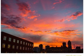 des moines, iowa, sunset, landscape, east village, zts photo
